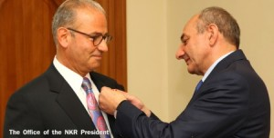 "Artsakh Republic President Bako Sahakyan awarded Berdj Kiladjian with the ""Gratitude"" medal"