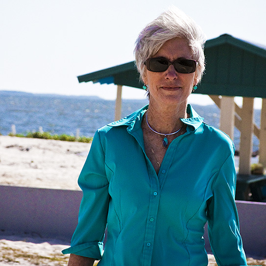 middle aged woman on the beach