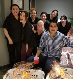 longwood dental staff at thanksgiving party