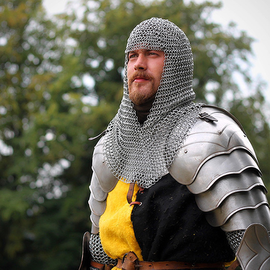 man dressed in suit of armor