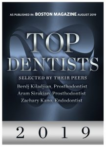 Boston Magazine award for Top Dentists 2019