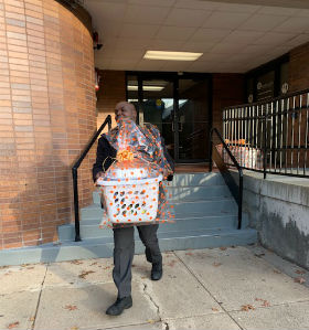 A man carrying baskets