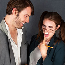 Man and woman with pencil