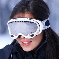 woman with fogged up ski goggles