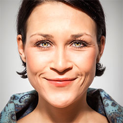 woman smiling closed mouth