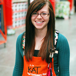 girl working at home depot